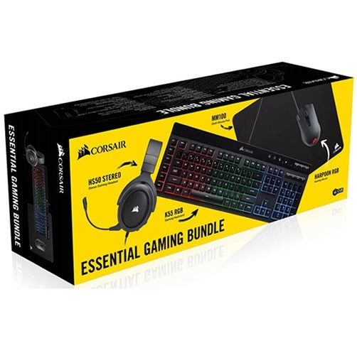 COMBO GAMER CORSAIR HS50 + K55 RGB + HARPOON RGB + MM100