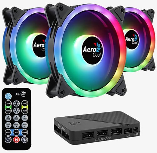 AEROCOOL DUO 12 PRO ARGB - 120MM PWM - KIT DE 3